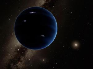 This artistic rendering shows the distant view from Planet Nine back towards the sun. The planet is thought to be gaseous, similar to Uranus and Neptune. Hypothetical lightning lights up the night side. Photo credit: Caltech/R. Hurt (IPAC)