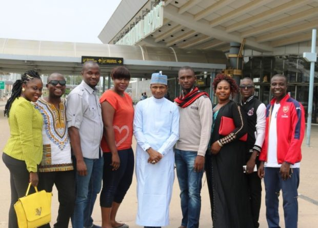 Hamzat Lawal, Chief Executive of CODE and head of the Nigerian delegation (middle, in white), with members of the entourage