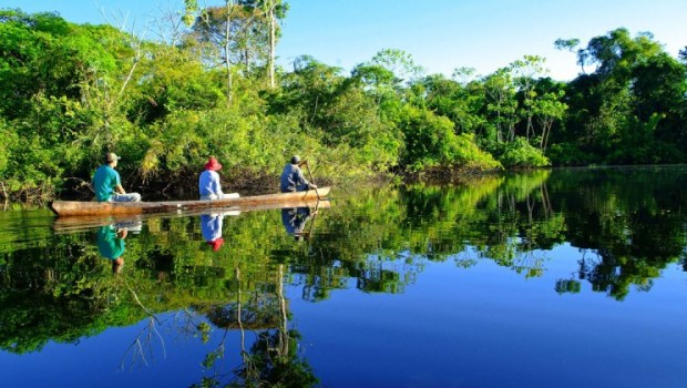 Canoeing in the Amazon river