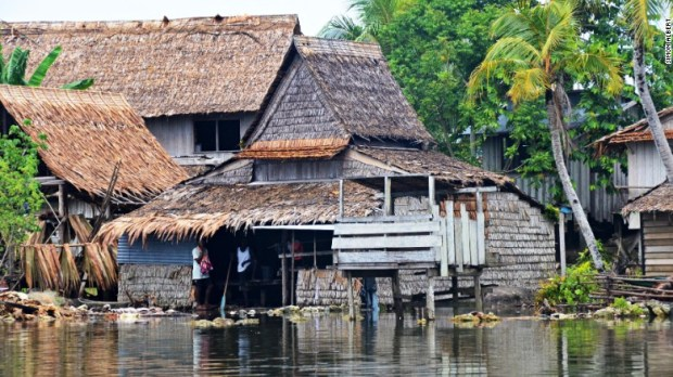 Communities in parts of the Solomom Islands have been forced to move to higher ground as the receding coastline allows seawater to flood their homes  Sea level rise claims five Pacific islands solomon islands 2 exlarge 169