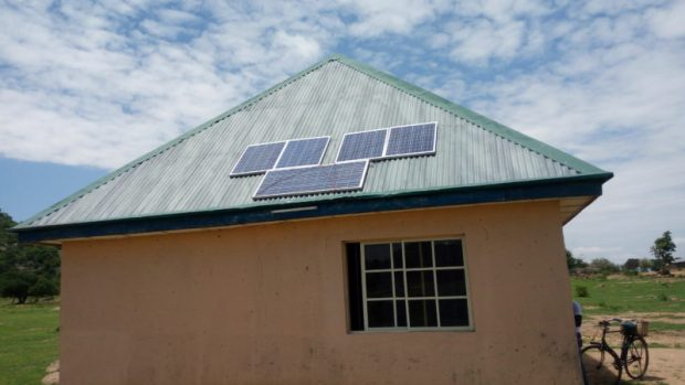 Solar panels on the roof of a building powering fridge and lighting systems in a community in Hong LGA in Adamawa State  Solar boosts health, businesses in insurgency-hit Adamawa communities Gaya10 e1466872041140