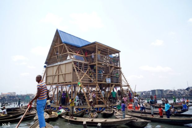 The Makoko Floating School, Lagos before its collapse