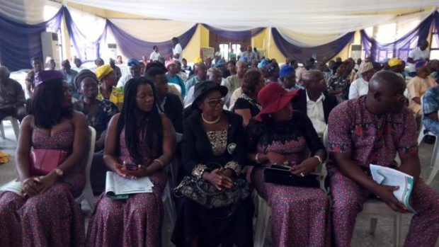 Dr Olomola's widow and children during the Service of Songs & Tributes
