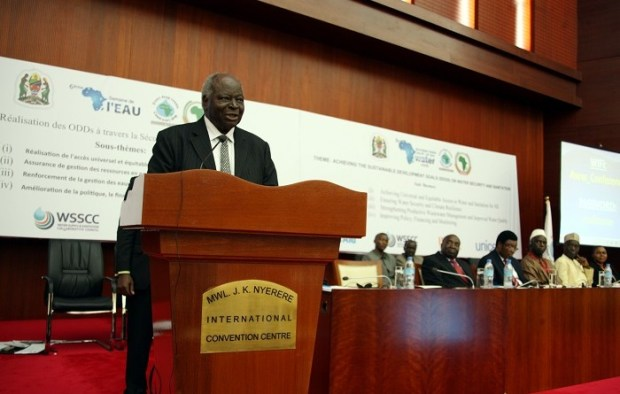 Former President and the UNESCO's Special Envoy for Water in Africa, His Excellency Mwai Kibaki addressing the 6th African Water Week conference organized by the African Ministers Council on Water (AMCOW) in conjunction with the African Union Commission at Julius Nyerere International Conference Centre in Dar es Salaam, Tanzania