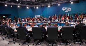A G20 leaders' meeting  Insurers urge G20 to stop funding fossil fuels G20 20160322 wide
