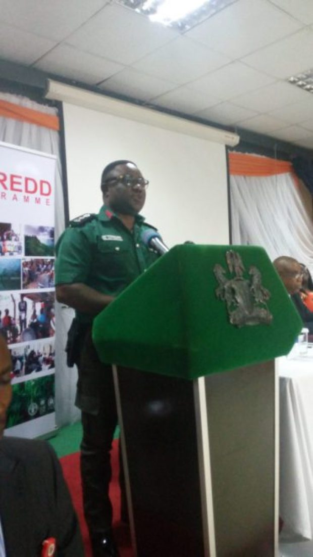 Governor Ben Ayade of Cross River State, dressed as a Green Police, delivering a speech at the Calabar validation exercise  Abuja, Calabar validation forums set stage for fresh REDD+ phase IMG 20160823 110739 e1472431706981