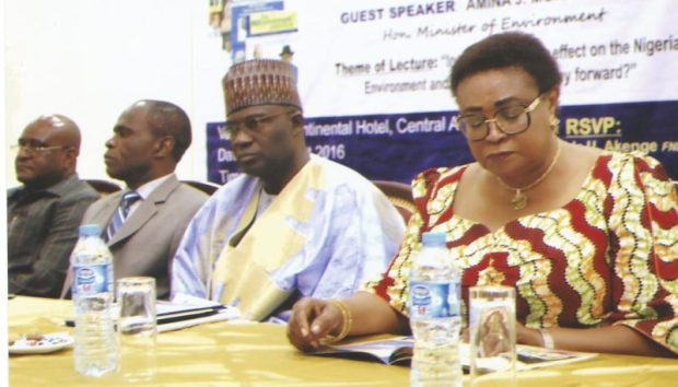 Left to right: Madam Anne Ene-Ita, former Permanent Secretary, Federal Ministry of Aviation; Representative of the Emir of Potiskum, Alhaji Muhammad Yusuf; Representative of the Minister of Environment and DG of NESREA, Dr. Lawrence Anukam; and former Minister of Environment, Sir John Odey at the 7th Environment Outreach Magazine Public Lecture in Abuja recently