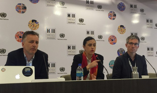 From left to right: Owen Gaffney, Anne-Hélène Prieur-Richard and Timon McPhearson speak at a press briefing on the last day of the Habitat III summit in Quito, Ecuador. Credit: UN Photo