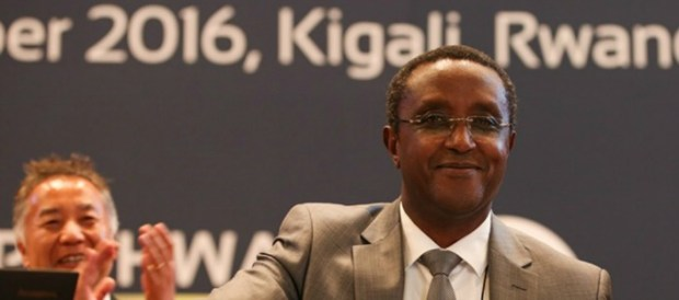 President of the 28th Meeting of the Parties to Montreal Protocol in Kigali, Vincent Biruta of Rwanda, brings the gavel down marking the adoption of the Kigali Amendment  Another climate breakthrough as countries agree to curb powerful greenhouse gases Kigali 1