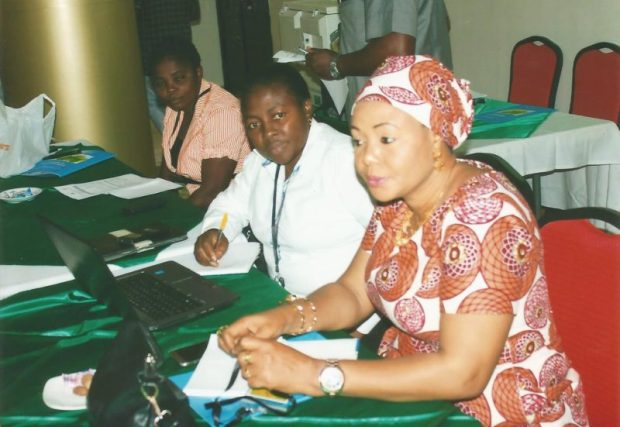 L-R: Rose Ekpor, MRV Team Leader, Nigeria UN-REDD+ Programme; Bridget Nkor, Head, GIS/Forest Monitoring Unit, Cross River State Ministry of Climate Change & Forestry; and Harwa Umar, Gender Focal Person, Nigeria UN-REDD+ Programme