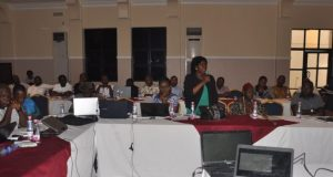 Dr Alice Ekwu, Cross River State Commissioner of Climate Change & Forestry, making a presentation during the CRS REDD+ Stakeholder Forum on Tuesday, 29 November 2016. in Calabar