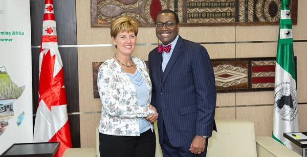 Marie-Claude Bibeau and Akinwumi Adesina  Canada, AfDB commit to women's empowerment in Africa AfDB