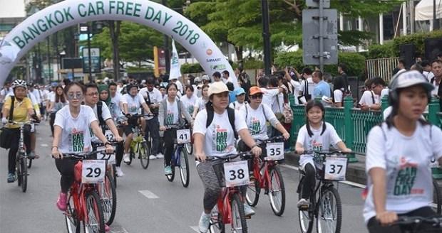 Bangkok Car Free Day  Bangkok, world car free day to reduce traffic congestion, pollution bangkok car