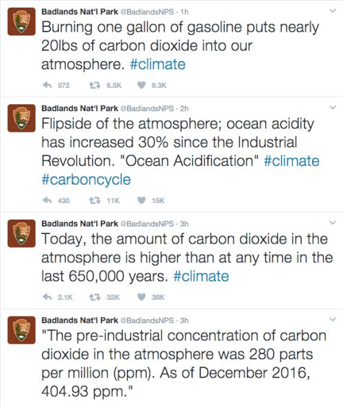 These are some of the tweets from Badlands National Park's account. They were quickly deleted, but the internet is forever.