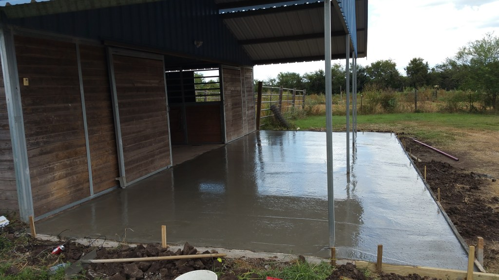 Concrete slab drying down at Trevor's Texas farm.