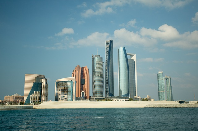Abu Dhabi from the ocean looking at the city