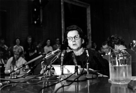 Rachel Carson testifying before the Senate Government Operations subcommittee studying pesticide spraying (June 4, 1963)
