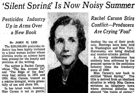 silent spring rachel carson essay In silent spring rachel carson starts an environmental movement by informing the public of the dangers of pesticides, which causes a shift in views.