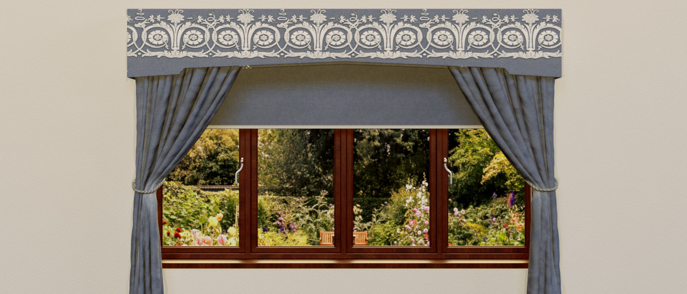 valence with curtains and blind