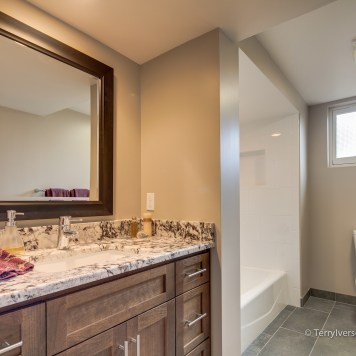 Basement bathroom with porcelain tile floor and tub surround