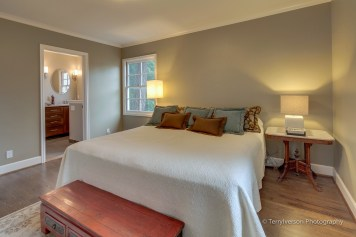Master bedroom with refinished stained oak hardwood