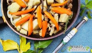 zanahoria, ñame, seta, cebolla, Formación de hielo, tomillo, azúcar, vainilla