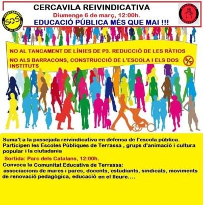 mobilització i cercavila per l'escola catalana, diumenge 6 de març de 2016 al Parc dels Catalans a les 12:00h.