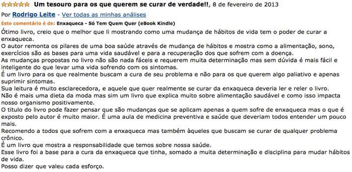 Depoimento de Rodrigo Leite no site da Amazon