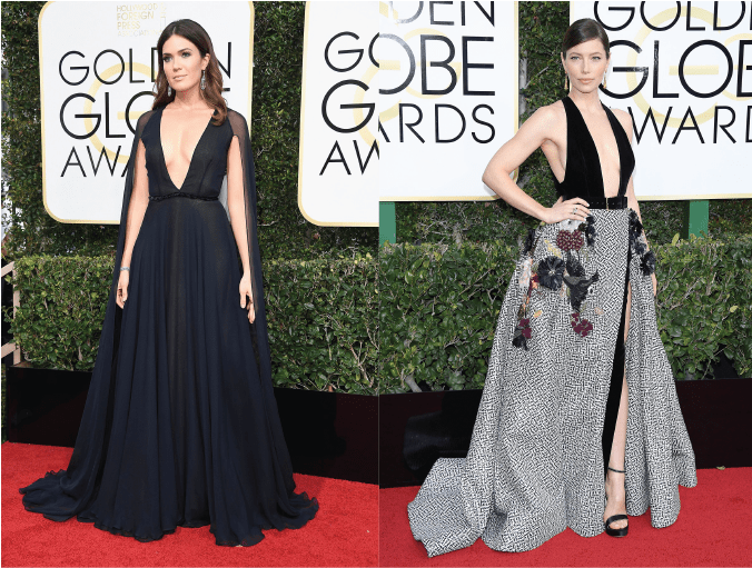 2017 golden globes, red carpet, looks, style, beauty, plunging power, mandy moore, jessica biel