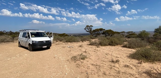 Camping spot overlooking the plains on the Eyre Highway