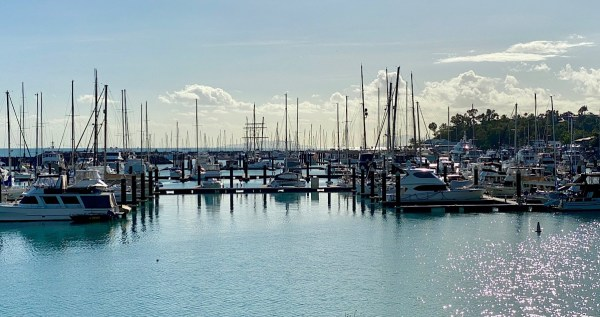 Looking back at the yachts in the Airlie Beach Marina