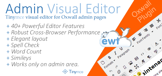 Admin Visual Editor (TinyMCE) – Oxwall Plugin