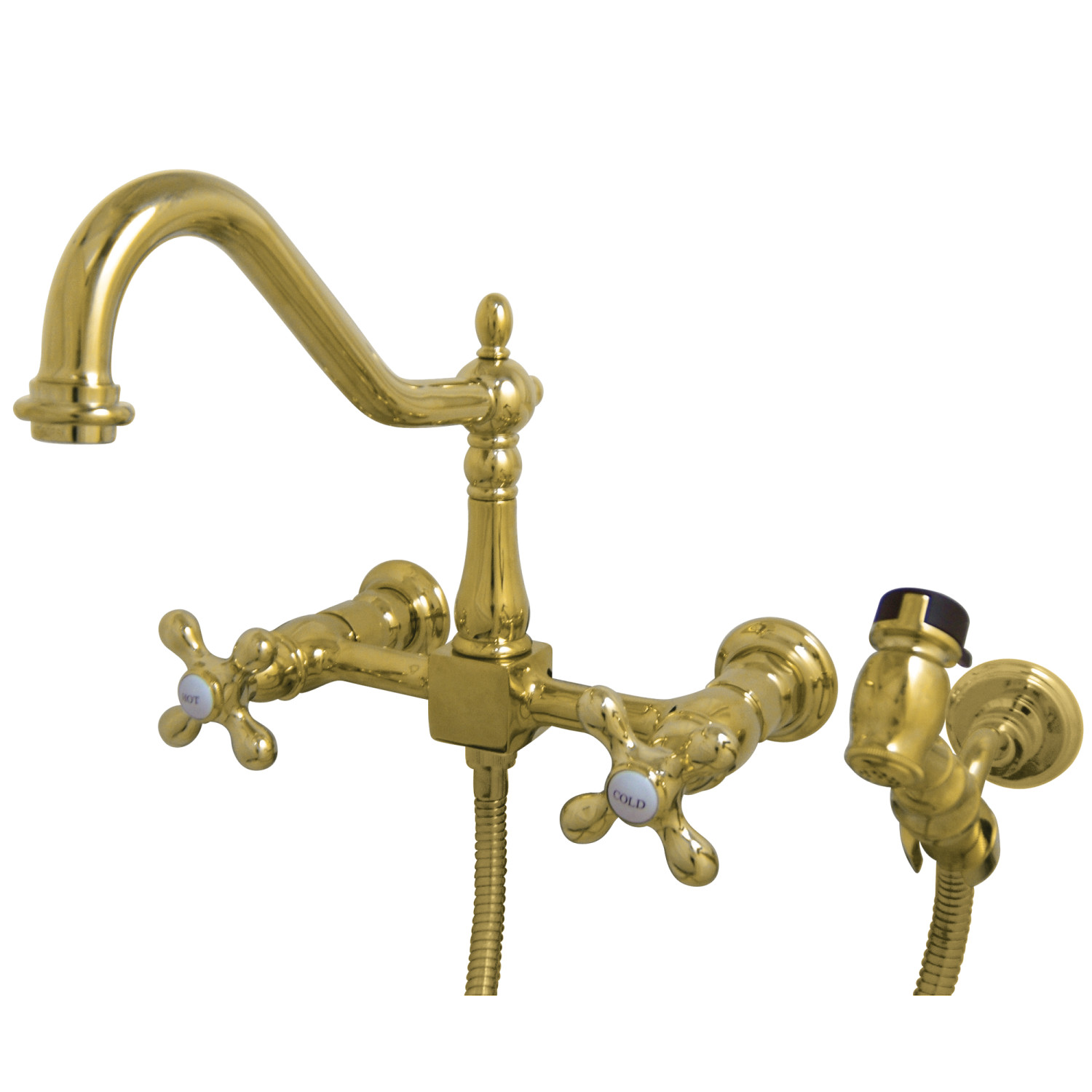 elements of design es1242axbs 8 inch centerset wall mount kitchen faucet with brass sprayer polished brass