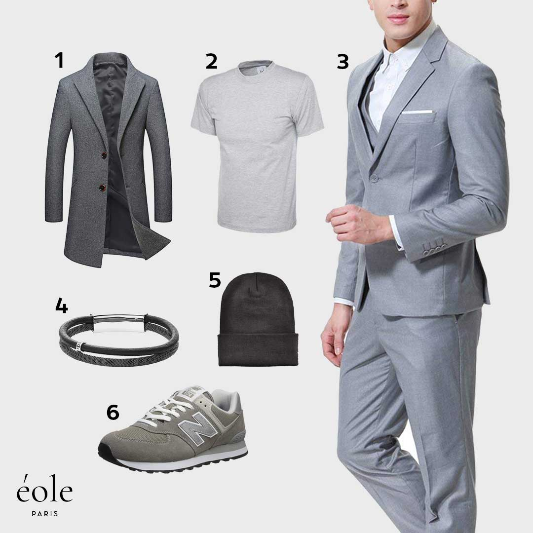 Look Casual Chic | Hiver | Trench Slim Fit Laine, Baskets New Balance Gris, Bracelet Fossil…