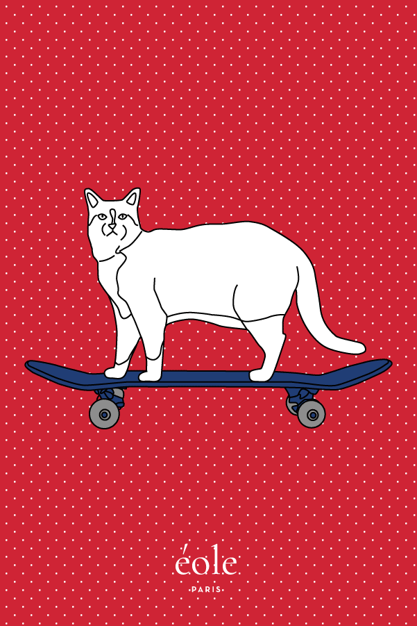 Cat And Skate Red - EOLE PARIS