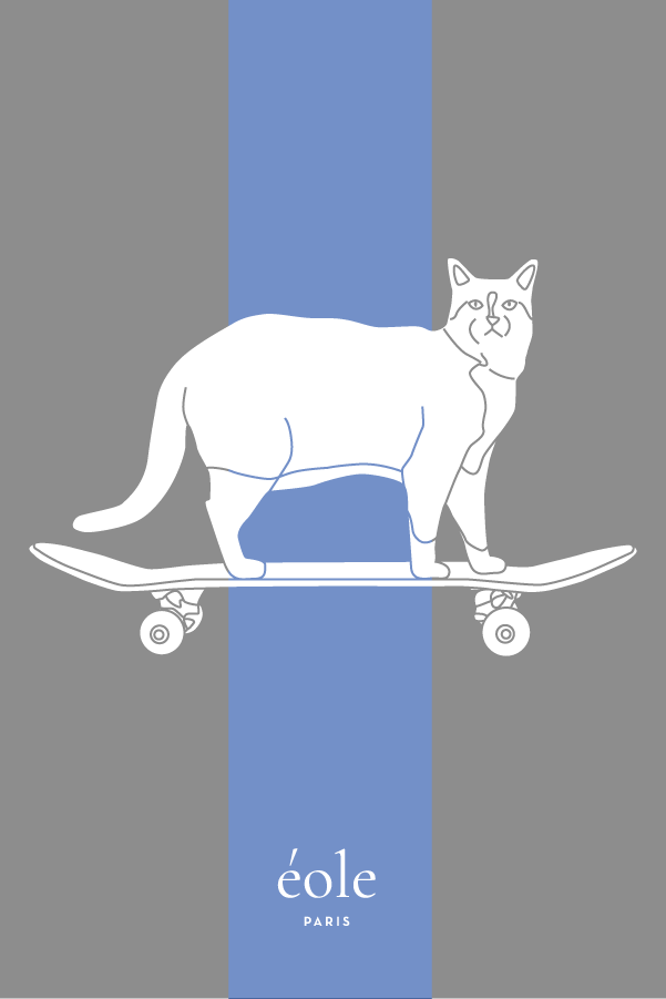 Cat And Skate Grey And Blue - EOLE PARIS