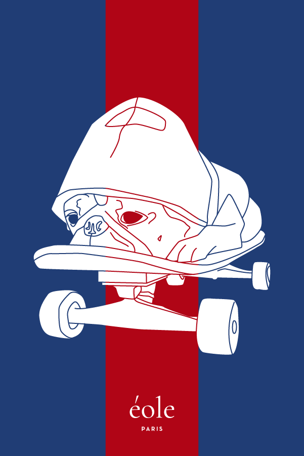 Dog on Skate Blue and Red - EOLE PARIS