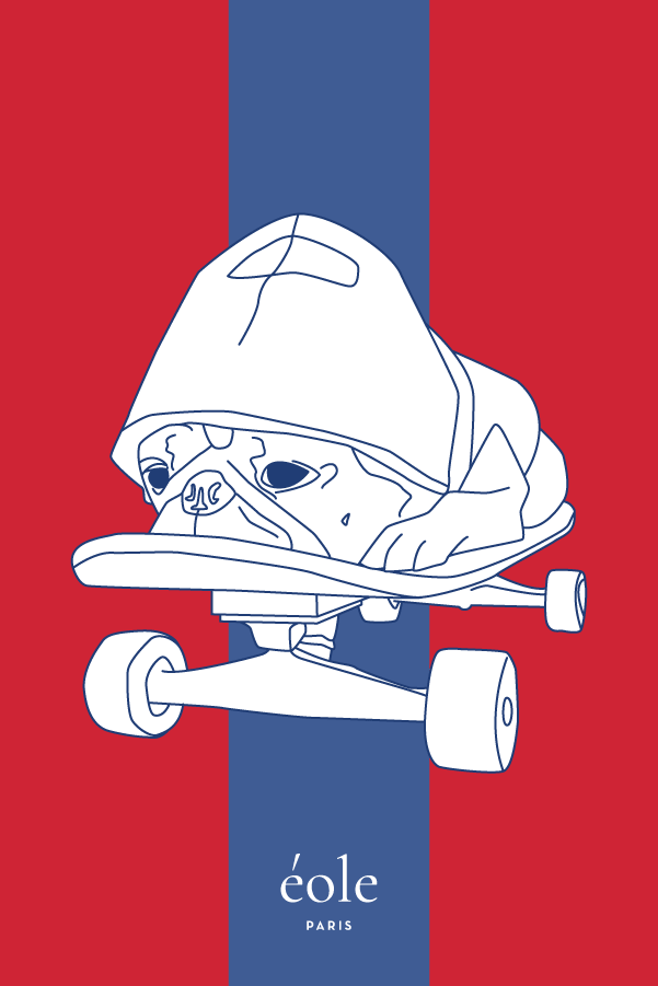 Dog on Skate red and blue - EOLE PARIS