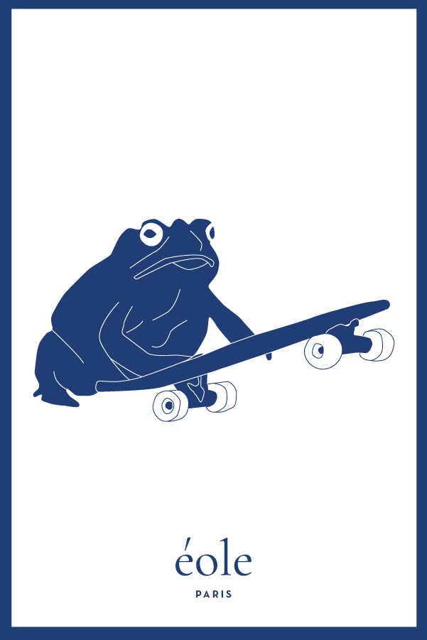 Grenouille et Skate bleu et blanc - EOLE Bleu
