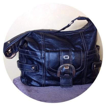 Giovanna black fax leather handbag spacious and elegant