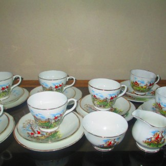 hunting scene fine bone china tea set