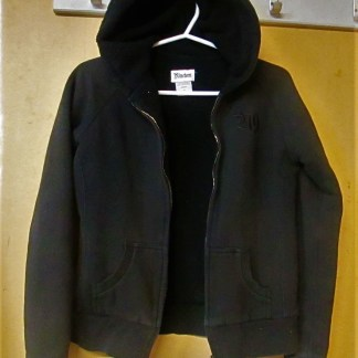 This hoodie is in very very good used condition the only thing that has given this hoodie away is the zipper does not work. It is good for a child who never zip up her jacket or have it fix if you have the time for it
