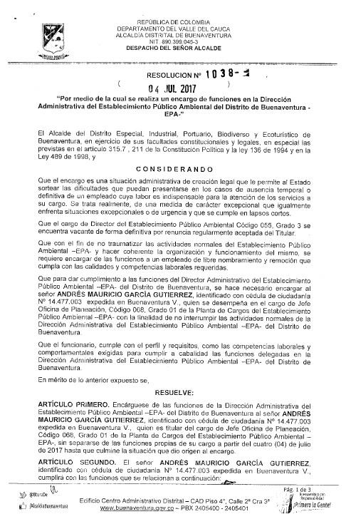 Decreto Nombramiento Dir. EPA (E) Hoja 1