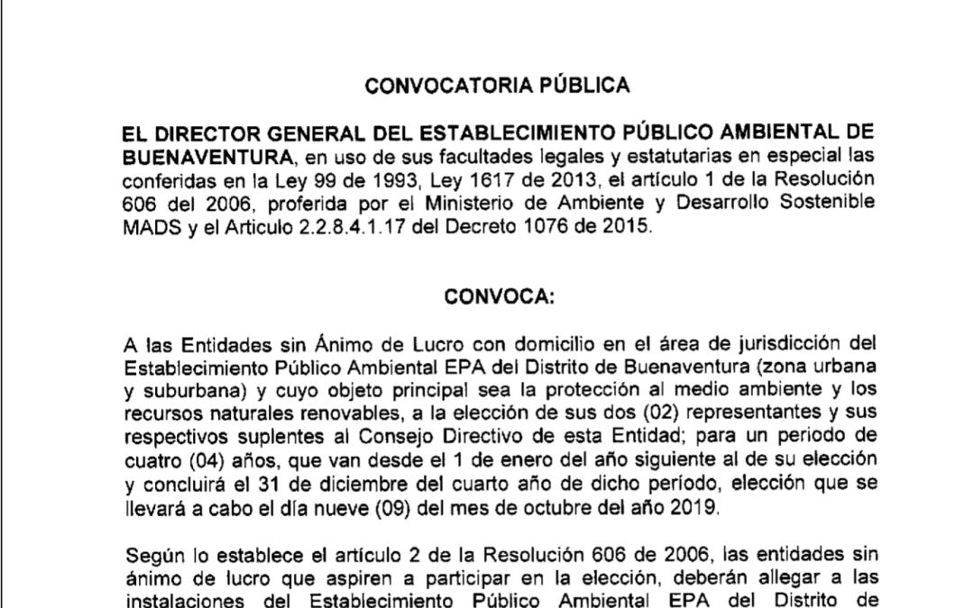 Convocatoria ONGs ante el consejo directivo de la EPA
