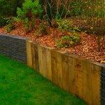 Epame paysages - Mur de soutènement gabion poutre bois