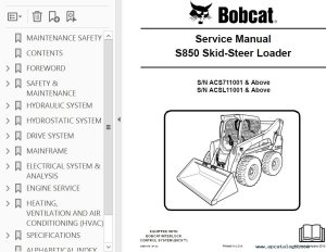 Bobcat S850 SkidSteer Loader Service Manual PDF