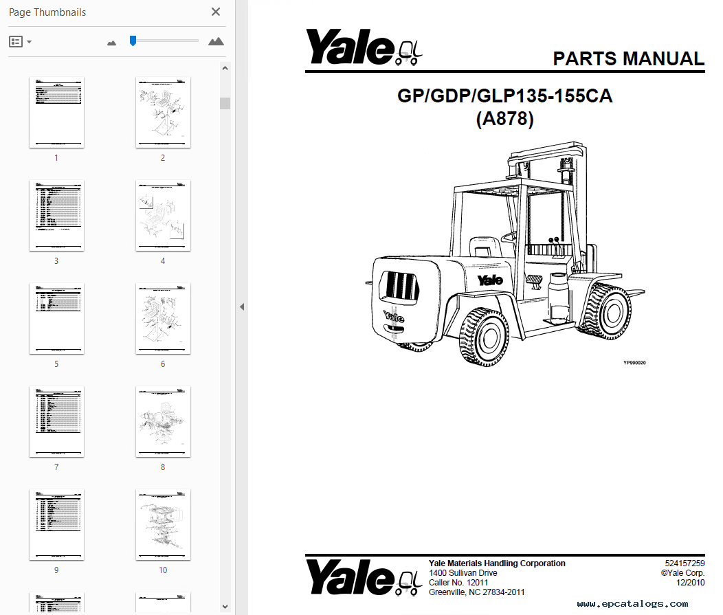 Yale Complete Set Of Parts Manuals For Usa Region In
