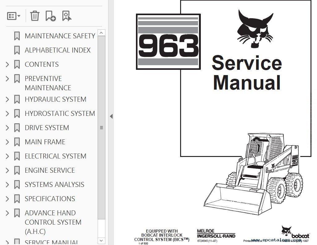 Bobcat 963 Loader Service Manual