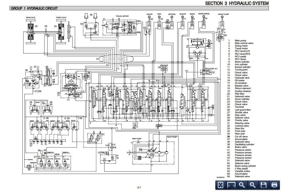 Hyundai R55w 9 Wheel Excavator Service Manual Download