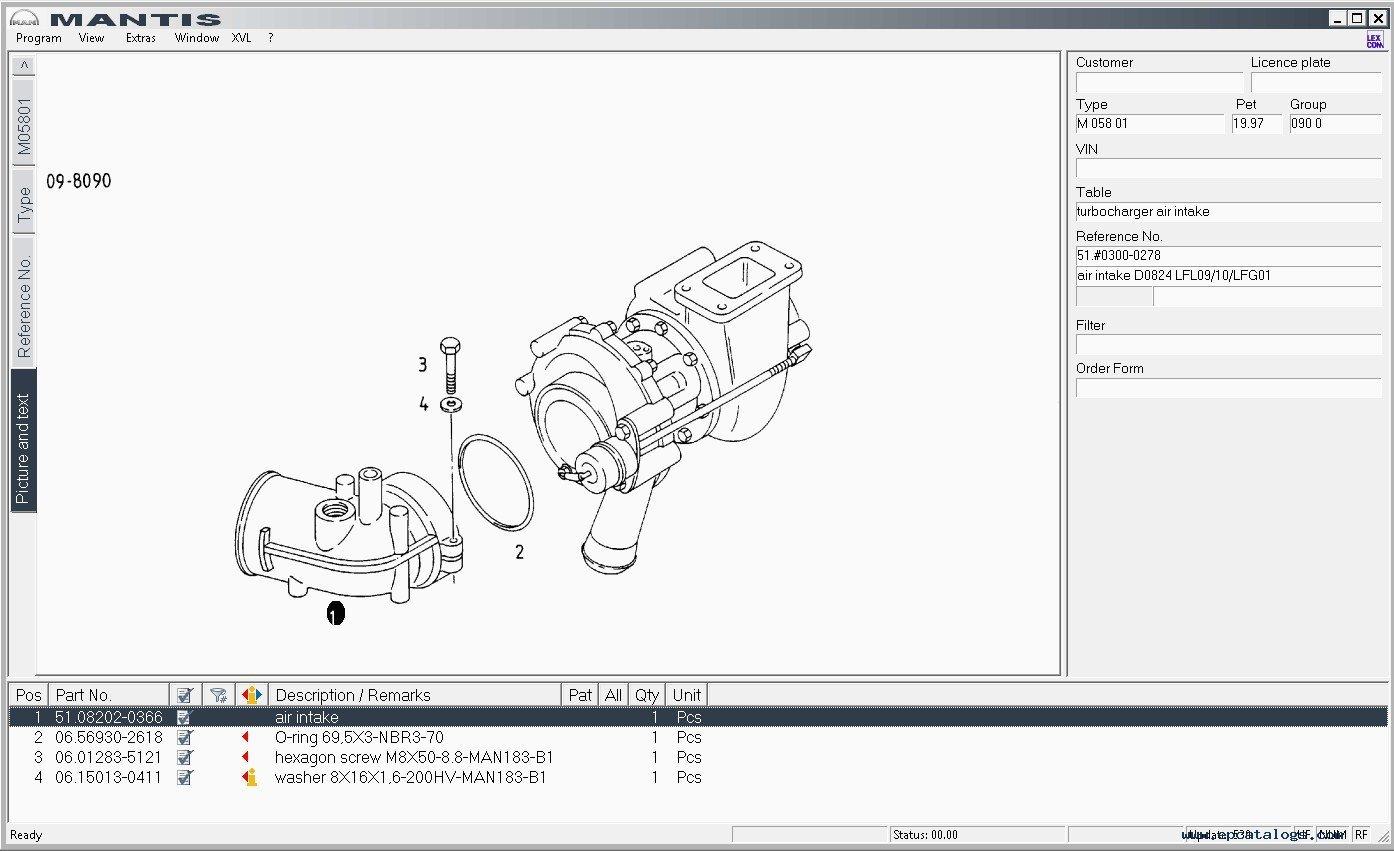 Man Mantis V5 0 V552 Parts Catalog Spare Parts